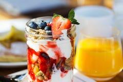 Yogurt granola for breakfast Stock Image