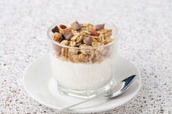 Yogurt and granola with chocolate drops Stock Photos