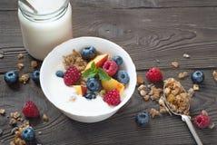 Yogurt with Granola  and fresh berries Stock Images
