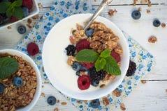 Yogurt with Granola and fresh berries Royalty Free Stock Photos