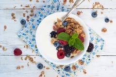 Yogurt with Granola and fresh berries Royalty Free Stock Image