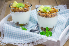 Yogurt with granola and fruits Royalty Free Stock Image
