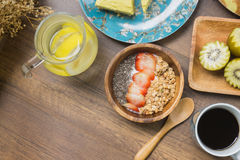Yogurt granola and infused water Royalty Free Stock Photography