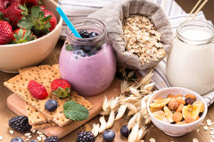 Yogurt and granola ingredients Royalty Free Stock Photo