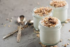 Yogurt with granola made of oats, raisins, puffed rice, chocolate and dried bananas. Healthy breakfast for family. Royalty Free Stock Photography