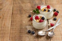 Yogurt with granola or muesli and fresh berries Royalty Free Stock Photo