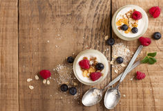 Yogurt with granola or muesli and fresh berries Royalty Free Stock Images