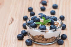 Yogurt with granola and organic blueberries in glass bow. Stock Photography