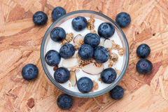 Yogurt with granola and organic blueberries in glass bow. Stock Photo