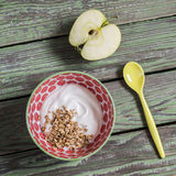 Yogurt with granola in a vintage bowl and a green apple on rustic wooden background. Royalty Free Stock Photography