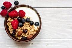 Yogurt greco casalingo con granola e le bacche fresche in una ciotola fotografia stock libera da diritti