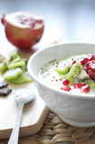 Yogurt greco con il kiwi ed il melograno Fotografia Stock Libera da Diritti