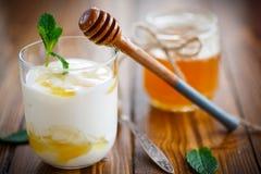Yogurt grego com mel Imagens de Stock Royalty Free