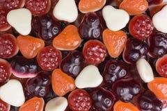 Yogurt gummy candies background. Background of berry flavored yogurt gummy candies Royalty Free Stock Photo
