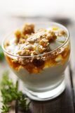 Yogurt with honey and muesli Stock Images