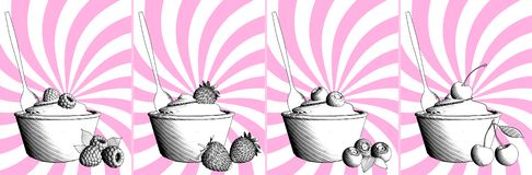 Yogurt or ice cream with berries. 3D rendering stock illustration