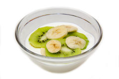 Yogurt with kiwi and banana Stock Photography