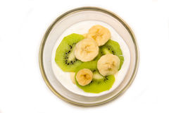 Yogurt with kiwi and banana from Royalty Free Stock Images