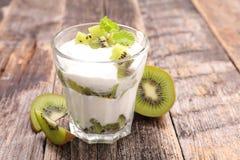 Yogurt and kiwi Royalty Free Stock Photography
