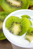 Yogurt with kiwi Royalty Free Stock Images