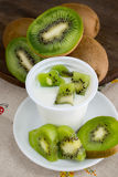 Yogurt with kiwi Stock Image