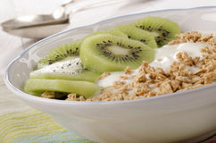 Yogurt with kiwi slice and cereals Stock Photo