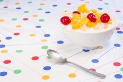 Yogurt with macedoine Stock Photo