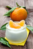 Yogurt with mandarin Stock Image