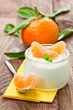 Yogurt with mandarin Royalty Free Stock Image