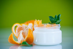 Yogurt with mandarin oranges Royalty Free Stock Images