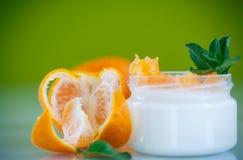 Yogurt with mandarin oranges Royalty Free Stock Photos