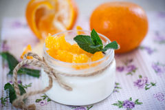 Yogurt with mandarin oranges Royalty Free Stock Photography