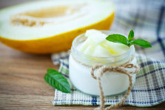 Yogurt with melon Royalty Free Stock Image