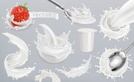 Free Yogurt, Milk Splashes. Set 3d Vector Elements Royalty Free Stock Image - 99629476