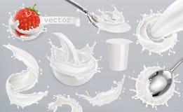 Yogurt, milk splashes. Set 3d vector elements. Package design Royalty Free Stock Image
