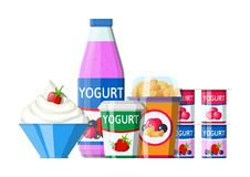 Yogurt or milky dessert set. Strawberry black currant cherry yogurt dessert. Food plastic glass, drinking bottle and cream bowl. Milk product. Organic healthy stock illustration