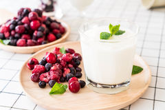 Yogurt with mixed berries Royalty Free Stock Image
