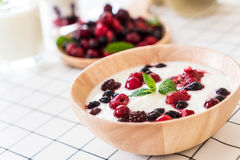 Yogurt with mixed berries Stock Photography