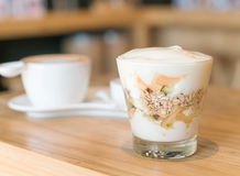 Yogurt with mixed fruits Royalty Free Stock Image