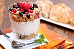 Yogurt with muesli Stock Photo