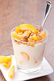 Yogurt with muesli stock photo