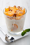 Yogurt with muesli Stock Photos