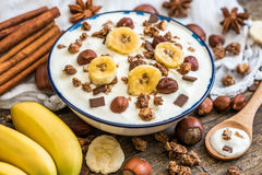 Yogurt with Muesli, Banana and Nuts Stock Images