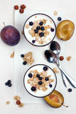 Yogurt with muesli and berries Stock Photography