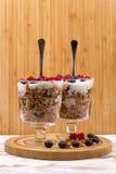 Yogurt, muesli and berries of blueberry, bog bilberry and stone Royalty Free Stock Image
