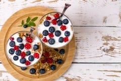 Yogurt, muesli and berries of blueberry and stone bramble Stock Photography