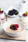 Yogurt with muesli and berries Royalty Free Stock Photos