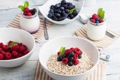Yogurt with muesli and berries Stock Photography