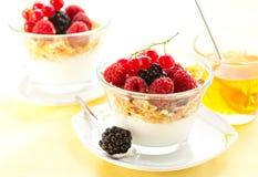 Yogurt ,muesli ,berries and honey Royalty Free Stock Photography