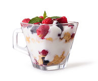 Yogurt with muesli and berries Royalty Free Stock Image